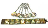 Lot 844 - A SET OF SIX CHINESE SILVER TEASPOONS AND A PERSIAN BRACELET
