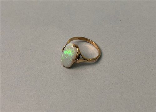Lot 12-AN OPAL RING WITH COIN FOB AND A PAIR OF CUFFLINKS