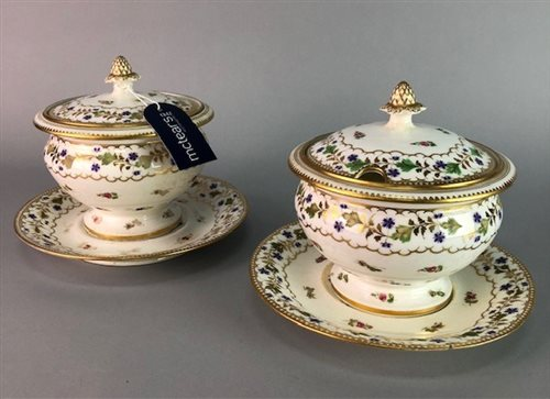 Lot 16-A PAIR OF PAINTED PORCELAIN SAUCE TUREENS