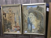 Lot 50-A PAIR OF WATERCOLOUR AND PENCIL PAINTINGS