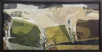 Lot 527-FIELDS AND TREES, ABERDEENSHIRE, AN OIL BY DONALD MORRISON BUYERS