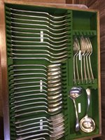 Lot 848 - AN OAK CANTEEN OF SILVER PLATED CUTLERY