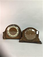 Lot 39-TWO MANTEL CLOCKS AND A VICTORIAN CASH TILL