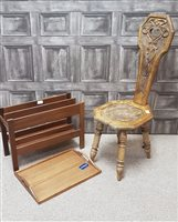Lot 35-RETRO TEAK TRAY BY COLE & MASON, TEAK MAGAZINE RACK AND A VICTORIAN CHAIR