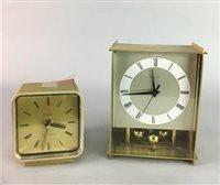 Lot 34-KIENZLE 'CHRONOQUARTZ' RETRO GILT TABLE CLOCK AND ANOTHER MANTEL CLOCK