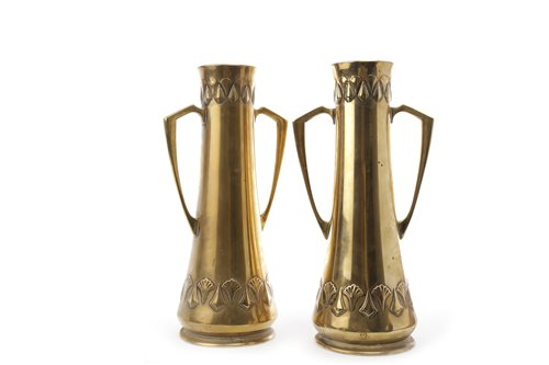 Lot 943-A PAIR OF WMF ART NOUVEAU BRASS TWIN HANDLED VASES