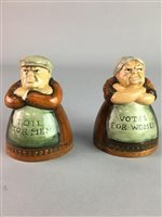 Lot 31-A PAIR OF FIGURAL ROYAL DOULTON SALT AND PEPPER SHAKERS