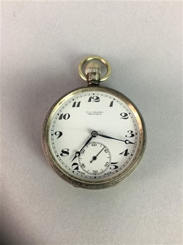 Lot 25-J.G. GREAVES SILVER POCKET WATCH WITH OTHER POCKET WATCHES