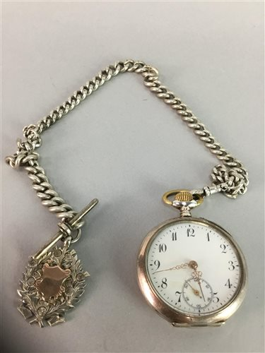 Lot 2-A SILVER POCKET WATCH ON SILVER ALBERT CHAIN AND SILVER FOB
