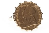 Lot 180-A GOLD HALF SOVEREIGN SET RING