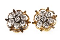 Lot 26-A PAIR OF DIAMOND CLUSTER EARRINGS