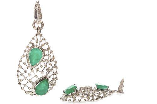 Lot 116-A PAIR OF IMPRESSIVE DIAMOND AND GEM SET EARRINGS