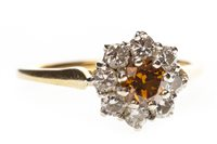 Lot 46-A COLOURED DIAMOND FLORAL CLUSTER RING