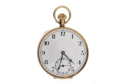 Lot 787 - A GOLD OPEN FACE KEYLESS WIND POCKET WATCH