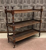 Lot 1603-A VICTORIAN WALNUT OBLONG THREE TIER BUFFET