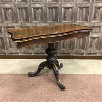Lot 1608-A VICTORIAN ROSEWOOD SERPENTINE CARD TABLE