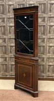 Lot 1611-AN EDWARDIAN MAHOGANY SHERATON REVIVAL CORNER CUPBOARD