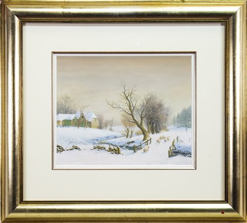 Lot 506-WINTER LANDSCAPE, A WATERCOLOUR BY ALISTAIR (ALISTER) LINDSAY