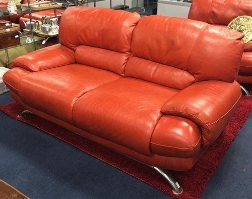 Lot 20-ITALIAN STYLE BURNT ORANGE LEATHER SUITE