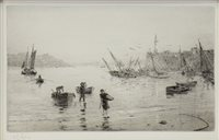 Image for THE FISHERMAN'S RETURN, AN ETCHING WITH DRYPOINT BY WILLIAM LIONEL WYLLIE