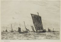 Lot 402-FISHING BOATS OFF BOULONGE, A DRYRPOINT BY WILLIAM LIONEL WYLLIE