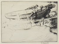 Lot 403-FISHERMAN'S RETURN, A DRYPOINT BY EDMUND BLAMPIED