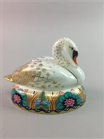 Lot 9-A ROYAL CROWN DERBY SWAN PAPERWEIGHT