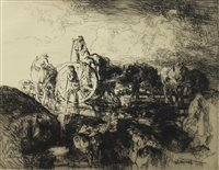 Lot 404-A JERSEY VARIC CART, A DRYPOINT BY EDMUND BLAMPIED