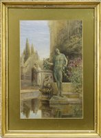 Lot 413-ROMAN GARDEN WITH TWO FIGURES, A WATERCOLOUR BY JOHN FULLEYLOVE