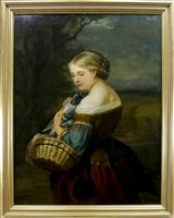 Lot 414-PORTRAIT OF A GIRL WITH A PIGEON