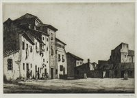 Lot 416-THE PLAZA, AN ETCHING BY IAN STRANG
