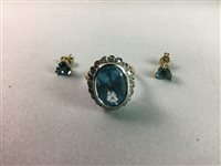 Lot 11-A BLUE GEM SET AND DIAMOND RING AND A PAIR OF EARRINGS