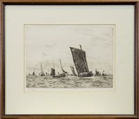 Lot 418-FISHING BOATS OFF BOULONGE, A DRYPOINT BY WILLIAM LIONEL WYLLIE