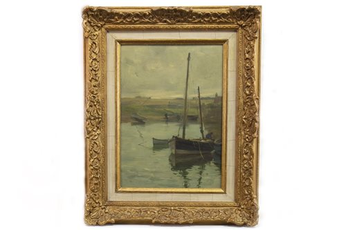 Lot 415-WAITING FOR THE TIDE, AN OIL BY WILLIAM MILLER FRAZER