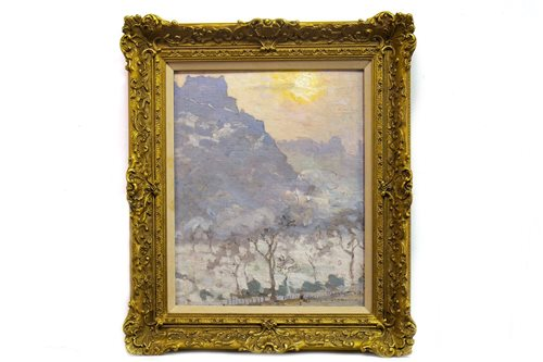 Lot 407-A WINTER SUNSET, AN OIL BY LIONEL TOWNSEND CRAWSHAW