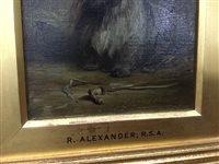 Lot 417-STUDY OF A DOG, AN OIL BY ROBERT ALEXANDER