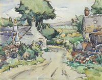 Lot 409-GALLOWAY COTTAGE, A MIXED MEDIA BY ERNEST ARCHIBALD TAYLOR