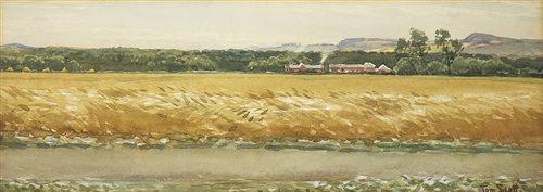 Lot 411-ACROSS THE FIELDS, A WATERCOLOUR BY TOM SCOTT RSA RSW