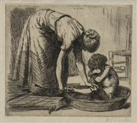 Lot 421-BATH TIME, AN ETCHING BY RANDOLPH SCHWABE
