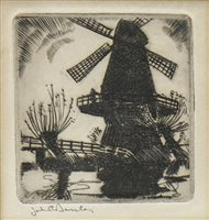 Lot 422-WINDMILL, AN ETCHING BY JOHN RANKIN BARCLAY