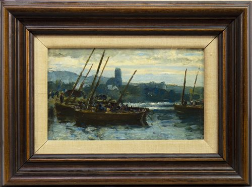 Lot 419-HARBOUR SCENE, ATTRIBUTED TO JOHN BROWN ABERCROMBY
