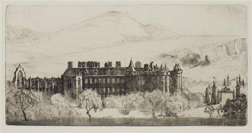 Lot 425-HOLYROOD PALACE, AN ETCHING BY JOHN RANKIN BARCLAY