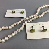 Lot 14-A LARGE COLLECTION OF WHITE METAL AND MARBLE EARRINGS WITH TWO PEARL NECKLACES