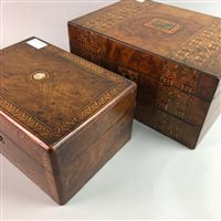 Lot 27-AN INLAID TRAVEL WRITING DESK WITH AN INLAID JEWELLERY BOX