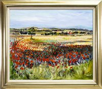 Lot 511-POPPIES AT AGRISOLOTTO NEAR CORTONA, TUSCANY, AN OIL BY TOM KIRKWOOD