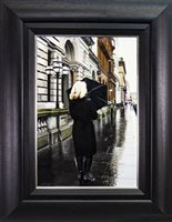 Lot 563-BLACK COAT IN THE CITY, AN OIL BY GERARD BURNS
