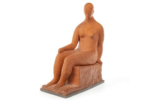 Lot 515-SEATED FIGURE, A CLAY SCULPTURE BY HANNAH FRANK