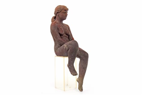 Lot 516-A CLAY SCULPTURE OF A NUDE SEATED GIRL, BY WALTER AWLSON