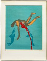 Lot 520-SHARK ATTACK, A SCREENPRINT BY SIR SIDNEY NOLAN