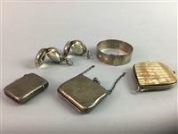 Lot 24-A LOT OF TWO SILVER SOVEREIGN CASES WITH A SILVER VESTA CASE AND OTHER ITEMS
